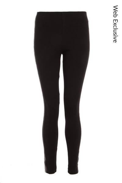 Black Embellished Stripe Leggings